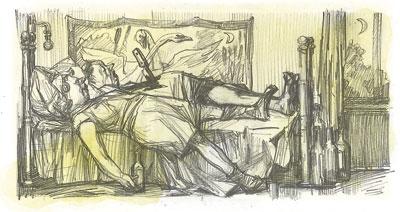 Уснула рядом с трупом. Художник Игорь Меглицкий