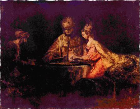 Рембрандт. Артаксеркс, Аман и Эсфирь. 1660