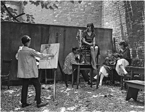 Художник и модель. На террасе кофейни в Гринвич Вилледж. 1921