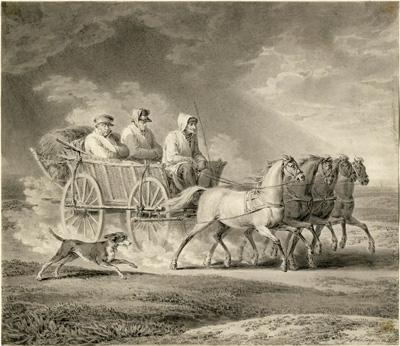 Винсент Георг Кининджер. Бегущие из России солдаты наполеоновского войска. 1825