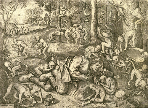 Питер ван дер Хейден. Ограбление торговца обезьянами. 1557