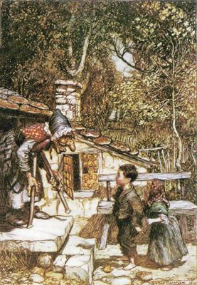 Артур Рекхем. Ганс и Гретель у пряничного домика
